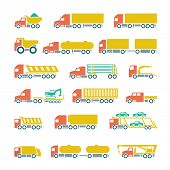 Set Flat Icons Of Trucks, Trailers And Vehicles