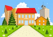 picture of school building  - Vector cartoon modern school building with the city in the background - JPG