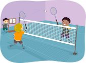 Illustration Featuring Boys Playing Badminton