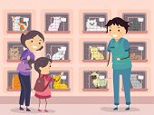 Illustration of a Family Visiting a Cat Shelter
