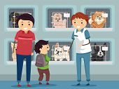 stock photo of puppies mother dog  - Illustration of a Family Visiting a Dog Shelter - JPG