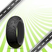 Black Motorcycle Rubber Tire