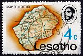 Postage Stamp Lesotho 1976 Map Of Lesotho