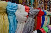 Colorful Scarfs For Sale In Street Market; Tossa De Mar, Costa Brava, Spain.