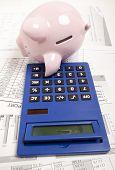 Pink piggy bank and calculator