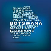 Botswana map made with name of cities - vector illustration