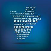 Burundi map made with name of cities - vector illustration