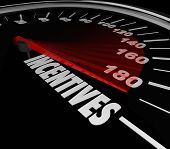 Incentives word speedometer to advertise special money saving deals, bonuses and rewards at a car or