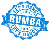 Rumba Blue Grunge Seal Isolated On White