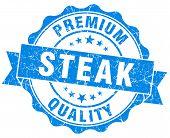 Steak Blue Grunge Seal Isolated On White