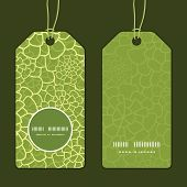 Vector abstract green natural texture vertical round frame pattern tags set