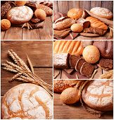Bread assortment collage