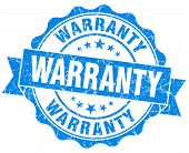 Warranty Blue Grunge Seal Isolated On White