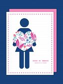Vector pink flowers woman in love silhouette frame pattern invitation greeting card template