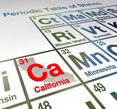 California abbreviation Ca on a periodic table of elements or states comparing th emerits of different locations around the USA or America