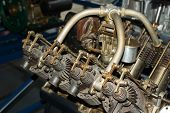 image of rotor plane  - Old aircraft part of engine close - JPG