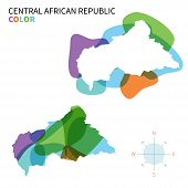 Abstract vector color map of Central African Republic with transparent paint effect.