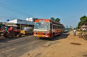 KANCHIPURAM, INDIA - September 12, 2009: Public bus in rural street. Buses take up 90% of public transport in Indian cities, serve as cheap and convenient mode of transport for all classes of society