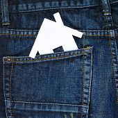 House in a back pocket of a jeans
