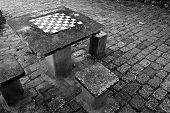 picture of chessboard  - A chessboard built into a cement table - JPG