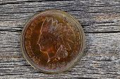 Indian Head Cent In Uncirculated Condition On Old Wood