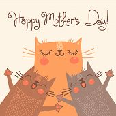 Sweet card for Mothers Day with cats.