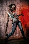 pic of zombie  - Scary bloody zombie girl with an ax - JPG