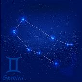 stock photo of gemini  - vector illustration of constellation Gemini on a blue background - JPG