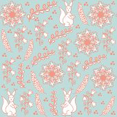 Floral Seamless Pattern With Sguirrels  And Seamless Pattern In Swatch Menu, Vector