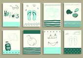 greeting card set cute retro sea objects collection.