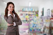 Beautiful Businesswoman On A Blurred Background