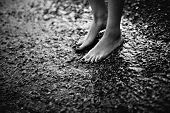 foto of wet feet  - Female feet in the cold sea water. black and white