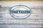 Core Values sign on shed side