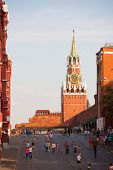 Lenin's Mausoleum, Spasskaya Tower And Walking People
