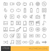 Multimedia thin line icons