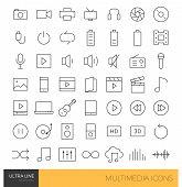 Multimedia thin line icons