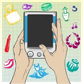 Women's Hands Holding The Gadget - E-book On A Colored Background Decorated
