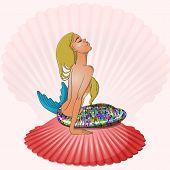 Mermaid sitting on seashell vector illustration