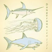 picture of spearfishing  - Sketch sea creatures in vintage style vector - JPG