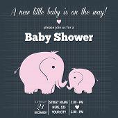 stock photo of baby animal  - Baby girl invitation for baby shower vector format - JPG