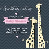 foto of pretty-boy  - Baby girl invitation for baby shower vector format - JPG