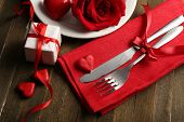 Festive table setting for Valentine Day