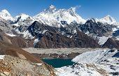 View Of Everest, Lhotse And Makalu From Renjo La Pass