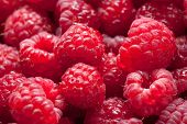 Pile Of Raspberry Macro Closeup Image