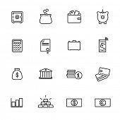 Money and Finance Line Icons Collection. Set of 16 money and finance related black line icons.