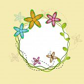 Illustration of a rounded frame decorated by flowers and butterfly with space for message on yellow background with shadow of flowers and butterfly.