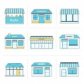 Set of simple store building icons