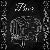 wooden barrel in style sketch