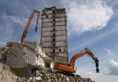 pic of crusher  - Hydraulic crusher excavator machines at site demolition - JPG