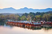 Traditional Chinese Red Wooden Recreation Boats